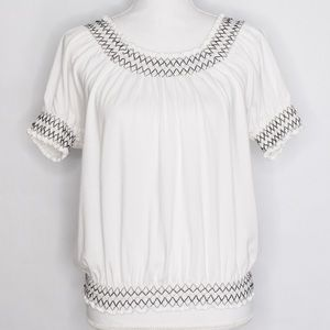 Style & Co White Embroider Cinched Hem Blouse S